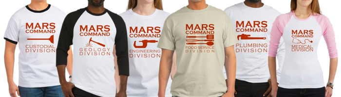 Mars Command designs on shirts.