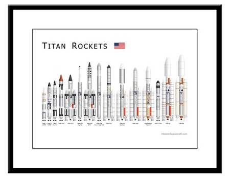 Titan rockets framed print for sale.